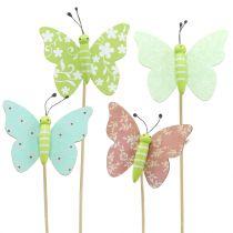 Flower pin vlinder hout 18cm 12st