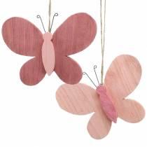 Vlinder om hout op te hangen roze 13cm x 22cm 2st