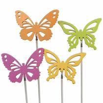 Bloemstekers vlinder hout 7x5.5cm 12st assorti