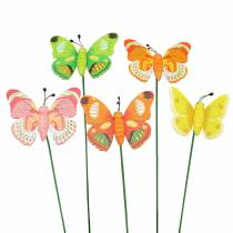 Bloempen vlinder hout assorti 7,5 cm 16st