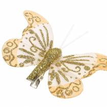Veer vlinder op clip goud glitter 10st