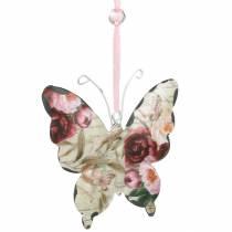 Vlinder om metalen decoratiehanger op te hangen 9cm lentedecoratie 6st