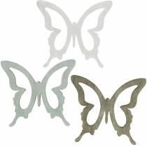 Vlinder om te strooien 4cm bruin, lichtgrijs, wit Zomers besprenkel hout decoratie 72st
