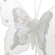 Vlinders met parels en mica, huwelijksdecoraties, veervlinders op wit draad