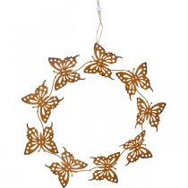 Vlinderdecoratie, lentedecoratie om op te hangen, kransring, patina Ø30cm 2st
