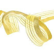 Sieradenlint met lurex strepen goud 40mm 20m