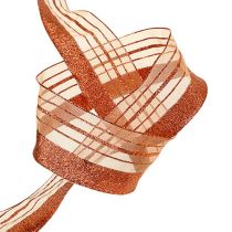 Sieraadtape met lurex strips koper 40mm 20m