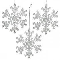 Decoratieve sneeuwvlok, winterdecoratie, ijskristal om op te hangen, kerst H10cm W9.5cm plastic 12st