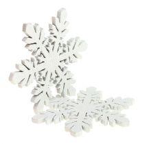 Sneeuwvlokken gemaakt van hout wit Ø3,7cm 48p