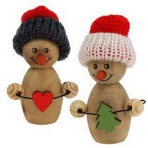 Sneeuwpop figuur hout 8cm - 9cm 6st