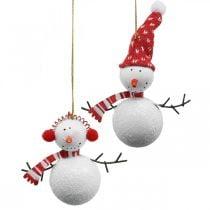 Kerstboomversiering sneeuwpop om op te hangen metaal 8.5 / 13cm 4st