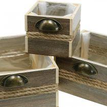 Plantenbak, houten lade, bloembak 26/20/14 cm, set van 3