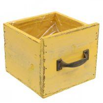 Decoratieve lade vintage plantenbak hout geel 12,5 × 12,5 × 11cm