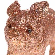 Decoratief varken glitter roze 10cm 8st