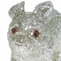 Decoratief varken glitter zilver 10cm 8st