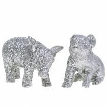 Decoratief varken Nieuwjaarsdecoratie zilver glitter 3,5cm 2st