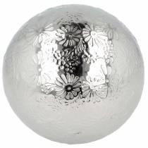 Drijvende bol bloemen zilver metaal Ø10cm