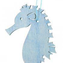 Zeepaardje om op te hangen blauwe, witte hanger maritieme decoratie 8st