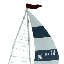 Zeilboot 11cm x 19cm wit-blauw 3st