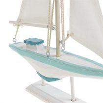 Zeilboot wit-blauw 30cm