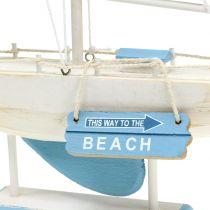 Decoratieve zeilboot gemaakt van houtblauw, wit H41,5cm