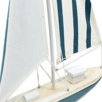 Decoratieve zeilboot hout blauw-wit 56,5cm