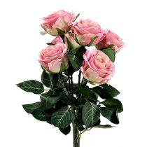 Zijden bloemen roos Ø7cm L37cm oudroze 6st