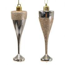 Champagneglazen om licht goud op te hangen 10cm 8st