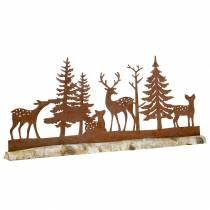 Bossilhouet met rustieke dieren op een houten voet 57cm x 25cm