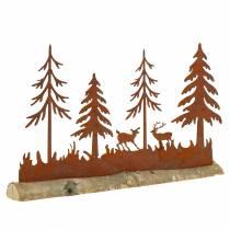 Bossilhouet met roestvrijstalen dieren op houten voet 30cm x 19cm