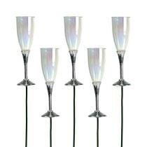 New Year's Eve decoratieve champagne glazen plug zilver 7,5 cm L27 cm 12 stks