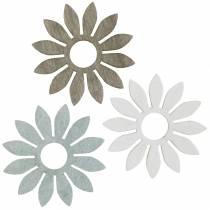 Zomerbloemen houtdecoratie bloemen bruin, lichtgrijs, wit streudeko 72st