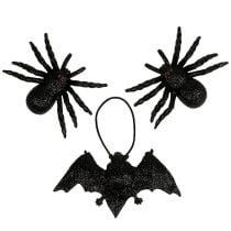 Spider, vleermuisfiguren zwart 10cm, 14cm 3st