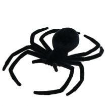 Spider zwart 16 cm gevlokt