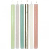 Conische kaarsen gekleurd door verschillende kleuren 21 × 240 mm 12st