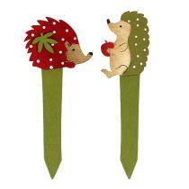 Plug egel rood, groen 13cm 16st