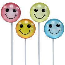 Decoratieve smiley op de stok geassorteerde kleuren 3,5 cm 8 stks