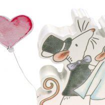 Deco figuur muis paar met hartjes 11cm x 11cm 4st