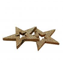 Houten ster gouden scatter decoratie 4cm 48p