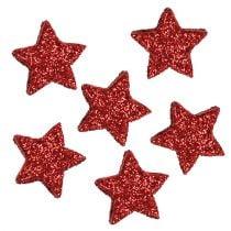 Ster glitter 1,5 cm om rood 144st te verspreiden