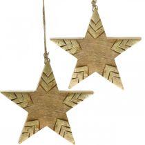 Ster mangohout naturel, gouden houten ster groot om op te hangen 25cm 2st