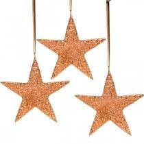 Decoratieve ster om op te hangen, adventsdecoratie, metalen hangers koperkleurig 12 × 13cm 3st