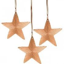 Ster hanger, kerstversiering, metalen decoratie koperkleurig 9.5 × 9.5cm 3st
