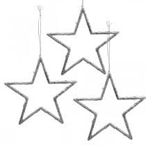 Ster om op te hangen, kerstboomversiering, decoratie ster zilver 11,5 × 12cm 12st