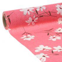 Decoratiestof bloemen roze 30 cm x 3 m