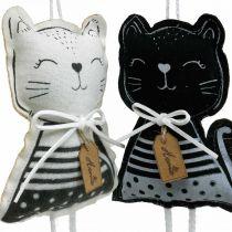 Stoffen katten om op te hangen, lentedecoratie, decoratiehanger kat, cadeau-decoratie 4st