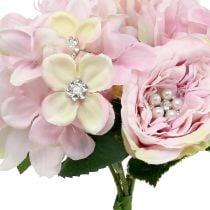 Boeket van roze met parels 29cm