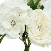 Decoratief boeket wit met parels en strass 29cm