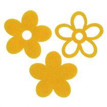 Verspreide decoratie vilt bloem geel assorti 4cm 72st