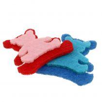 Verspreide beer gemaakt van vilt diverse kleuren 3,5 cm x 3,5 cm 100 st
